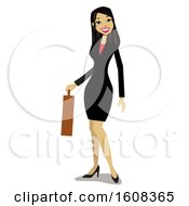 Clipart Of A Happy Asian Business Woman Holding A Briefcase Royalty Free Vector Illustration