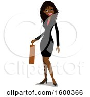 Clipart Of A Happy Black Business Woman With An Afro Holding A Briefcase Royalty Free Vector Illustration