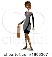 Clipart Of A Happy Black Business Woman With Short Hair Holding A Briefcase Royalty Free Vector Illustration