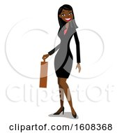 Clipart Of A Happy Black Business Woman With Long Straight Hair Holding A Briefcase Royalty Free Vector Illustration