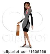 Happy Hispanic Business Woman Holding A Briefcase