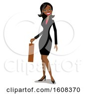 Clipart Of A Happy Indian Business Woman With A Bindi Holding A Briefcase Royalty Free Vector Illustration