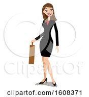 Smiling Brunette White Business Woman Carrying A Briefcase