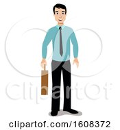Clipart Of A Happy White Business Man Holding A Briefcase Royalty Free Vector Illustration