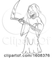 Clipart Of A Black And White Grim Reaper Royalty Free Vector Illustration