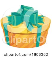 Poster, Art Print Of Round Gift Box With A Bow