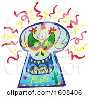 Clipart Of An Evil Mexican Skull With Fiesta Text Royalty Free Vector Illustration