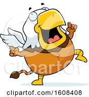 Clipart Of A Cartoon Happy Dancing Chubby Griffin Mascot Character Royalty Free Vector Illustration