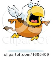 Clipart Of A Cartoon Flying Chubby Griffin Mascot Character Royalty Free Vector Illustration