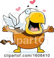 Clipart Of A Cartoon Chubby Griffin Mascot Character With Open Arms Royalty Free Vector Illustration