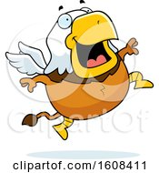 Clipart Of A Cartoon Jumping Chubby Griffin Mascot Character Royalty Free Vector Illustration