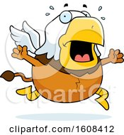 Clipart Of A Cartoon Scared Chubby Griffin Mascot Character Royalty Free Vector Illustration