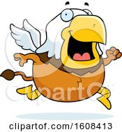 Clipart Of A Cartoon Running Chubby Griffin Mascot Character Royalty Free Vector Illustration