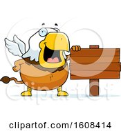 Clipart Of A Cartoon Chubby Griffin Mascot Character By A Blank Sign Royalty Free Vector Illustration