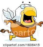 Clipart Of A Cartoon Walking Chubby Griffin Mascot Character Royalty Free Vector Illustration