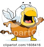 Cartoon Waving Chubby Griffin Mascot Character