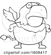 Cartoon OutlineAngry Chubby Griffin Mascot Character