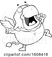 Clipart Of A Cartoon Lineart Happy Dancing Chubby Griffin Mascot Character Royalty Free Vector Illustration