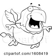 Clipart Of A Cartoon Lineart Flying Chubby Griffin Mascot Character Royalty Free Vector Illustration