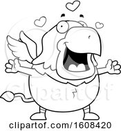 Clipart Of A Cartoon Lineart Chubby Griffin Mascot Character With Open Arms Royalty Free Vector Illustration