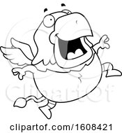 Clipart Of A Cartoon Lineart Jumping Chubby Griffin Mascot Character Royalty Free Vector Illustration