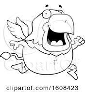 Cartoon OutlineRunning Chubby Griffin Mascot Character