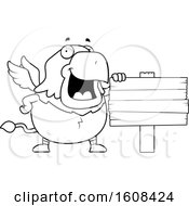 Cartoon OutlineChubby Griffin Mascot Character By A Blank Sign