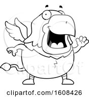 Cartoon OutlineWaving Chubby Griffin Mascot Character