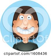 Happy Hispanic Woman Grinning In A Blue Circle