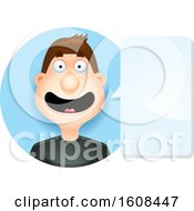 Happy Brunette White Man Talking In A Blue Circle