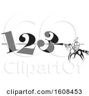 Clipart Of A Horseback Knight Spearing Numbers Royalty Free Vector Illustration