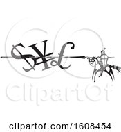 Clipart Of A Horseback Knight Spearing Currency Symbols Royalty Free Vector Illustration