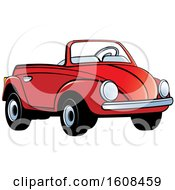 Clipart Of A Red Toy Slug Bug Vw Volkswagen Car Royalty Free Vector Illustration
