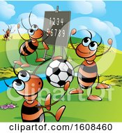 Clipart Of A Group Of Ants Playing Soccer And Learning Numbers Royalty Free Vector Illustration