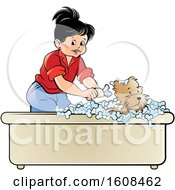 Girl Bathing A Puppy Dog In A Bath Tub