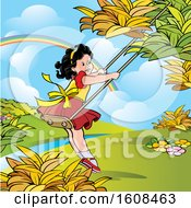 Clipart Of A Happy Girl Playing On A Swing Royalty Free Vector Illustration