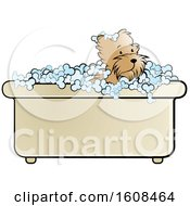 Clipart Of A Puppy Dog In A Bath Tub Royalty Free Vector Illustration by Lal Perera