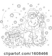 Clipart Of Santa Claus With A Staff And Sack Of Gifts In The Snow In Black And White Royalty Free Vector Illustration