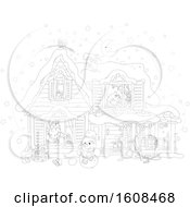 Clipart Of A Lineart Christmas Eve Scene Of Santa In A Home With A Girl Sleeping Upstairs Royalty Free Vector Illustration