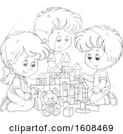 Clipart Of A Lineart Girl And Boys Playing With Toy Building Blocks Royalty Free Vector Illustration