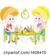 Clipart Of A White Boy And Girl Playing A Game Of Chess Royalty Free Vector Illustration