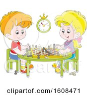 Clipart Of A Caucasian Boy And Girl Playing A Game Of Chess Royalty Free Vector Illustration