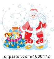 Clipart Of Santa Claus With A Staff And Sack Of Gifts In The Snow Royalty Free Vector Illustration