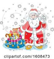 Clipart Of Santa With A Staff And Sack Of Christmas Gifts In The Snow Royalty Free Vector Illustration