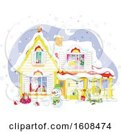 Clipart Of A Christmas Eve Scene Of Santa In A Home With A Blond Girl Sleeping Upstairs Royalty Free Vector Illustration