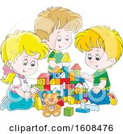 Clipart Of A Caucasian Girl And Boys Playing With Toy Building Blocks Royalty Free Vector Illustration