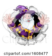 Clipart Of A Happy Wizard Emerging From A Hole Royalty Free Vector Illustration