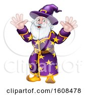 Clipart Of A Happy Wizard Waving With Both Hands Royalty Free Vector Illustration
