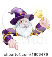 Clipart Of A Happy Wizard Holding A Magic Wand Over A Sign Royalty Free Vector Illustration