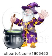 Clipart Of A Wizard Mixing A Potion And Waving Royalty Free Vector Illustration by AtStockIllustration